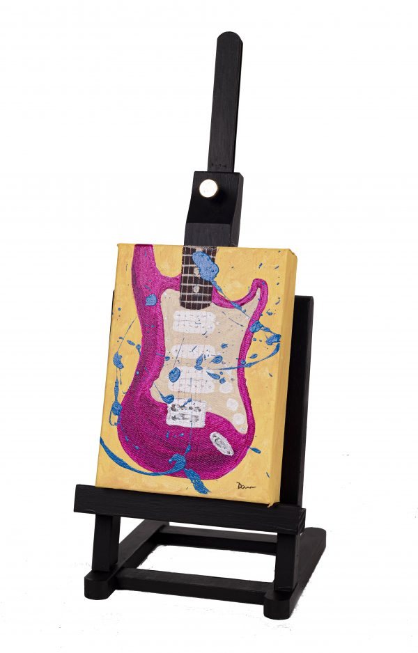 Electric Guitar in Magenta Abstract I Acrylic Painting by Dawn M. Wayand
