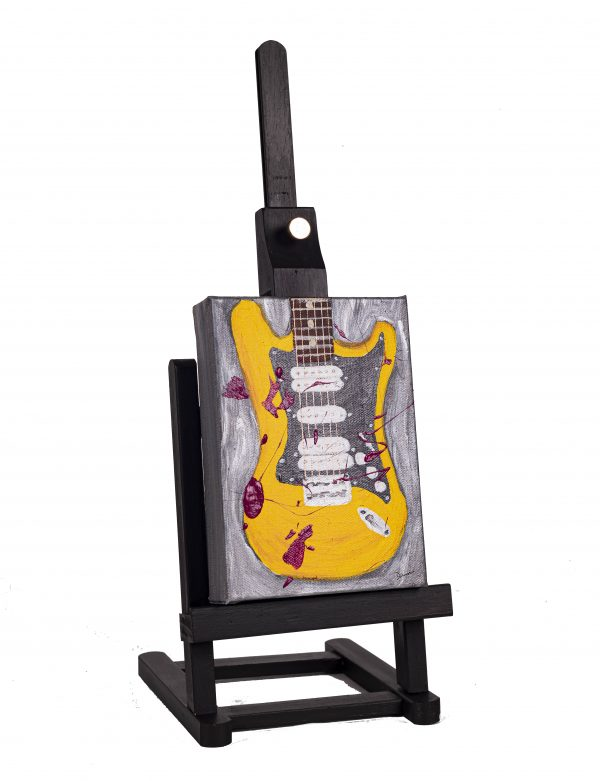 Electric Guitar in Yellow Abstract I Acrylic Painting by Dawn M. Wayand