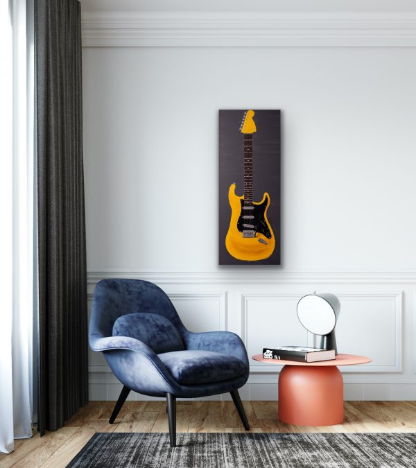 Electric Guitar in Yellow on Gray I Acrylic and Mixed Media Painting by Dawn M. Wayand