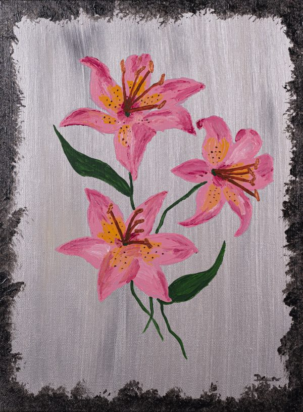 Lilies on Silver I Acrylic Painting by Dawn M. Wayand