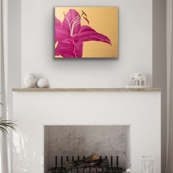 Lily on Yellow Candid I Acrylic Painting by Dawn M. Wayand