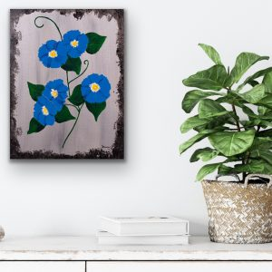 Morning Glories on Silver I Acrylic Painting by Dawn M. Wayand