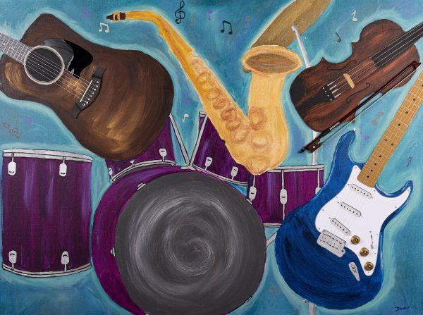 Music at Twilight I Acrylic and Mixed Media Painting by Dawn M. Wayand