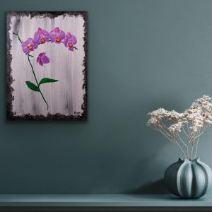 Orchids on Silver I Acrylic Painting by Dawn M. Wayand